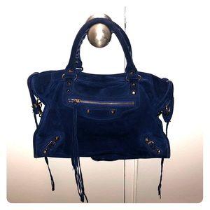 balenciaga suede baby daim navy blue city bag